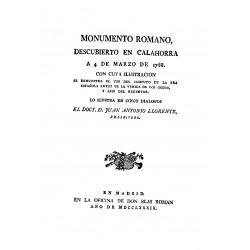 Monumento romano descubierto en Calahorra a 4 de marzo de 1788