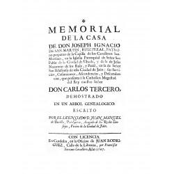 Memorial de la casa de Don Joseph Ignacio de San Martín Ruiz Peral