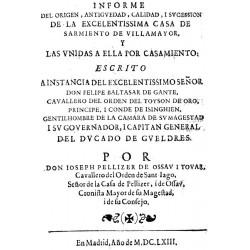 Informe del origen antiguedad calidad de la casa de Sarmiento de Villamayor