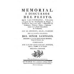 Memorial i discursos del pleito que las ciudades villas y lugares de los Arzobispados de Burgos y Toledo de Tajo