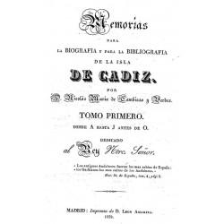 Memorias para la biografía y bibliografía de la isla de Cádiz