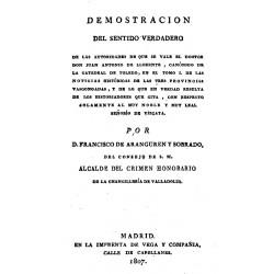 Demostración del sentido verdadero de las autoridades de que se vale el doctor don Juan Antonio Llorente